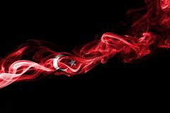 Turkey flag smoke. Isolated on a black background royalty free stock images