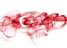 Turkey flag smoke. Isolated on white background stock images