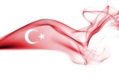 Turkey flag smoke. Isolated on a white background stock photos