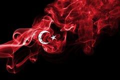 Turkey flag smoke. Isolated on black background stock photography