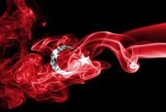 Turkey flag smoke. Isolated on a black background stock photo