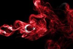 Turkey flag smoke. Isolated on a black background royalty free stock image