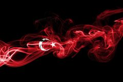 Turkey flag smoke. Isolated on a black background royalty free stock photography