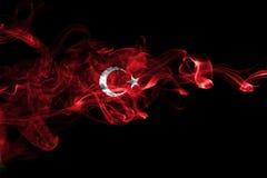 Turkey flag smoke. Isolated on a black background stock image