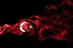 Turkey flag smoke. Isolated on a black background stock photos