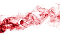 Turkey flag smoke. Isolated on a white background stock photos