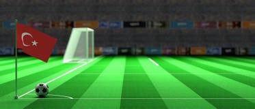 Turkey flag on a soccer field. 3d illustration. Turkey flag on a soccer football field. 3d illustration Royalty Free Stock Image