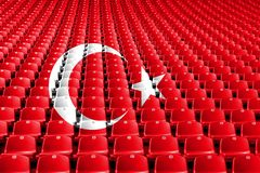 Turkey flag stadium seats. Sports competition concept. Turkey flag stadium seats. Sports competition concept royalty free stock photos