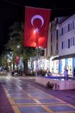 Turkey flag on the street. Kemer royalty free stock image