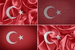 Turkey flag. Textile flag of Turkey. fabric backgraun stock photo