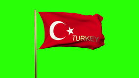 Turkey flag with title waving in the wind. Looping. Sun rises.  Animation loop stock video footage