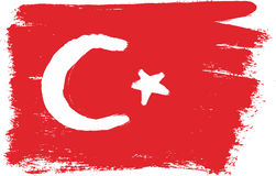 Turkey Flag Vector Hand Painted with Rounded Brush Royalty Free Stock Photos