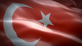 Turkey flag video waving in wind. Realistic Turkish Flag background. Turkey Flag Looping Closeup 1080p Full HD 1920X1080 footage. Turkey EU European country stock illustration