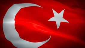 Turkey flag video waving in wind. Realistic Turkish Flag background. Istambul Turkey Flag Looping Closeup 1080p Full HD 1920X1080. Footage. Turkey EU European vector illustration