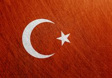 Turkey flag, vintage, retro, scratched. Steel background. Ð¡olors of the national flag royalty free stock image