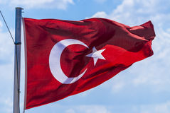 Turkey flag waving stock image