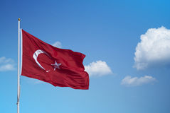 Turkey flag waving. In the evening stock photo
