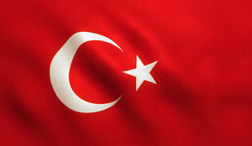Turkey Flag Waving - Turkish Texture. Turkey flag background with fabric texture stock images