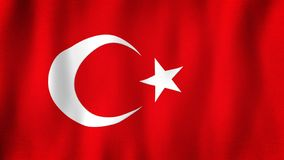 Turkey flag waving in the wind. Closeup of realistic Turkish flag with highly detailed fabric texture