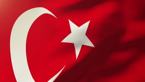 Turkey flag waving in the wind. Looping sun rises. Animation loop stock video
