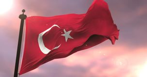 Turkey flag waving at wind in slow at sunset, loop. Flag of Turkey waving at wind in slow at sunset, loop stock video