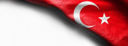Turkey flag on white background. Right top corner flag royalty free stock images