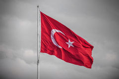 Turkey flag in the wind on a BW background. Turkey flag in the wind in Istanbul Royalty Free Stock Images