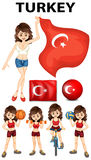 Turkey flag and woman athlete Royalty Free Stock Photography