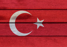 Turkey flag on a wood. Illustration of Turkey flag over a wooden textured surface stock photo