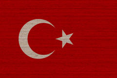 Turkey flag on wood. Turkey flag painted on old wood plank background stock photo
