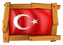 Turkey flag in wooden frame Royalty Free Stock Photos