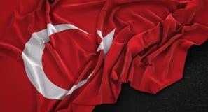 Turkey Flag Wrinkled On Dark Background 3D Render Royalty Free Stock Photography