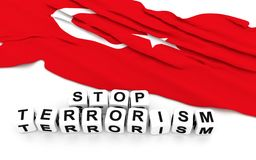 Turkey flag and write stop terrorism Royalty Free Stock Images