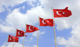 Turkey flags Stock Photo
