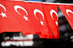 Turkey flags are seen during the country`s national day. Several Turkey flags are seen during the country`s national day stock photo