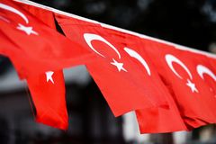 Turkey flags are seen during the country`s national day. Several Turkey flags are seen during the country`s national day stock images