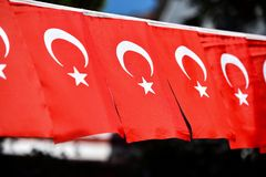Turkey flags are seen during the country`s national day. Several Turkey flags are seen during the country`s national day stock photos