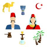 Turkey flat design. Set of icons in the style of a flat design on the theme of turkey Stock Image