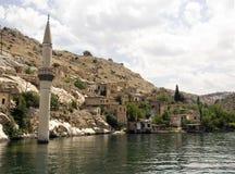 Sunken village Halfeti in Gaziantep Turkey. TURKEY, GAZIANTEP - 2014 - JUNE ,08 -  Historical village and castle at birecik dam of Halfeti, Turkey Stock Photography