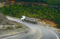 heavy-duty trucks on a mountain road royalty free stock images