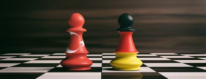 Turkey and Germany flags on chess pawns on a chessboard. 3d illustration. Turkey and Germany cooperation concept.Turkey and Germany flags on chess pawns soldiers Stock Photography