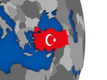 Turkey on globe with flag Royalty Free Stock Photography