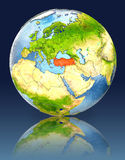 Turkey on globe with reflection. Illustration with detailed planet surface. Elements of this image furnished by NASA Royalty Free Stock Photos