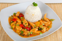 Turkey goulash. With rice on a plate Stock Photo
