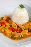 Turkey goulash. With rice on a plate Stock Images