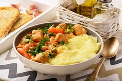 Turkey goulash stewed with vegetables and mashed potatoes. Stock Photo