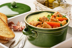 Turkey goulash stewed with vegetables and mashed potatoes. Stock Photos