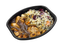 Turkey Gravy Rice TV Dinner Top View Stock Images