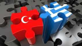 Turkey and Greece flags on puzzle pieces. Political relationship concept. 3D rendering Royalty Free Stock Photo