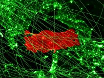 Turkey on green map. With networks. Concept of international travel, communication and technology. 3D illustration. Elements of this image furnished by NASA stock image